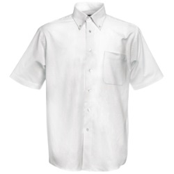 "Рубашка ""Short Sleeve Oxford Shirt"", белый_S, 70% х/б, 30% п/э, 130 г/м2"