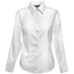 "Рубашка ""Lady-Fit Long Sleeve Oxford Shirt"", белый_L, 70% х/б, 30% п/э, 130 г/м2"