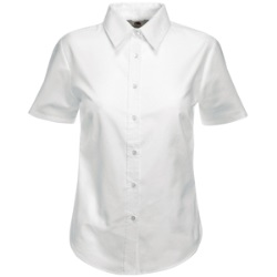 "Рубашка ""Lady-Fit Short Sleeve Oxford Shirt"", белый_M, 70% х/б, 30% п/э, 130 г/м2"