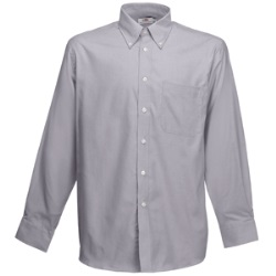 "Рубашка ""Long Sleeve Oxford Shirt"", светло-серый_XL, 70% х/б, 30% п/э, 135 г/м2"